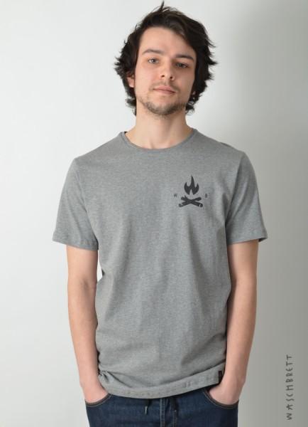 Fire Icon Backprint T-Shirt Darkheather Grey/Black