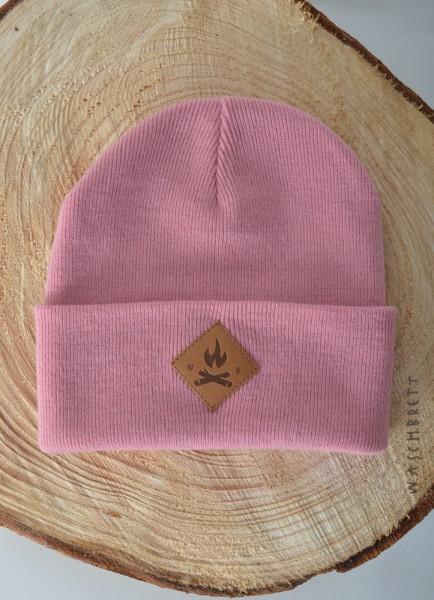Fire Icon Diamond Beanie Dusty Pink