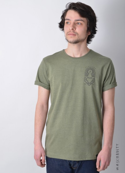 Weltkultur Backprint T-Shirt Olive Heather/Black