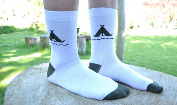 Tent Unisex Socks White/Black-Green