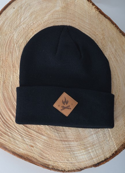 Fire Icon Diamond Beanie Black