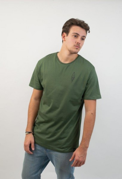 Feather Backprint T-Shirt Olive/Black