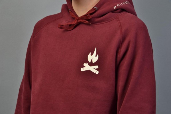 Fire Icon Backprint Hood Bordeaux/Vintage White