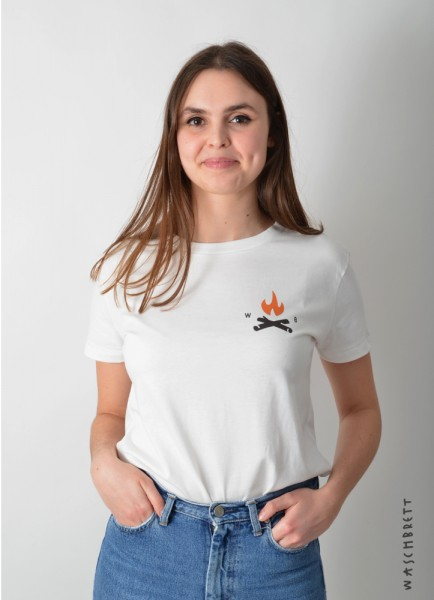 Fire Icon Women T-Shirt Natural/Orange-Brown
