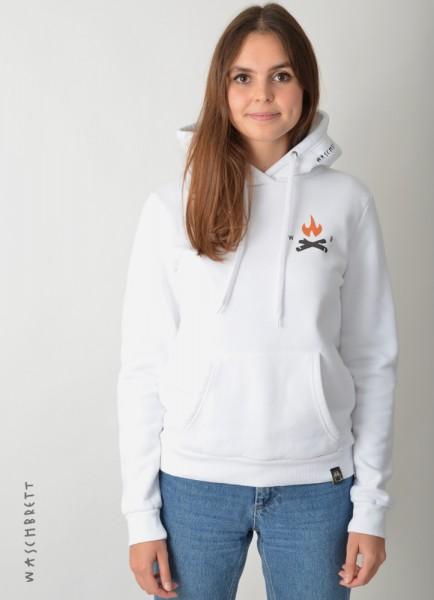 Fire Icon Backprint Women Hood White/Orange-Anthrazit