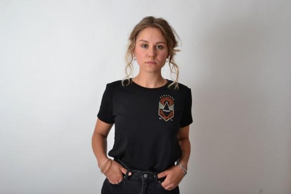 Weltkultur Women T-Shirt Black/Vintage White-Orange